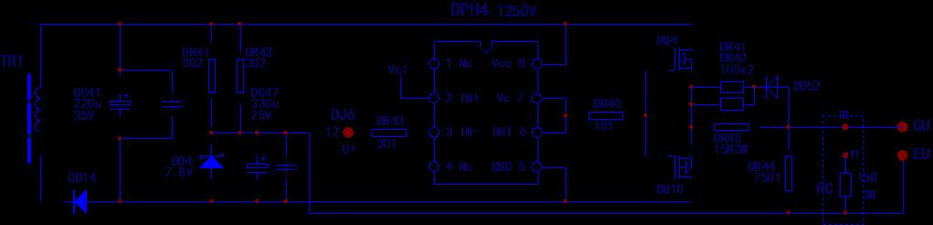 eu为脉冲信号输出端子,外接igbt的g,e极,检修驱动板时已与主电路脱离.